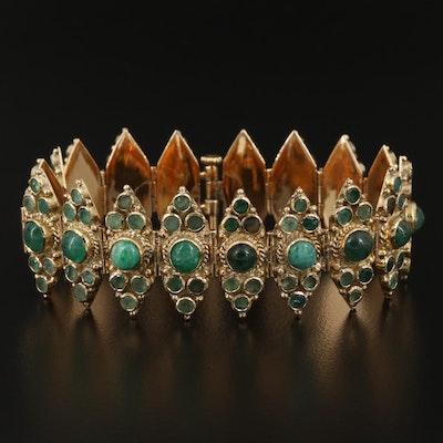14K Emerald, Aventurine and Tourmaline Link Bracelet