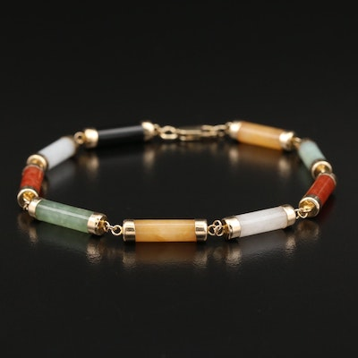 14K Jadeite and Black Onyx Link Bracelet