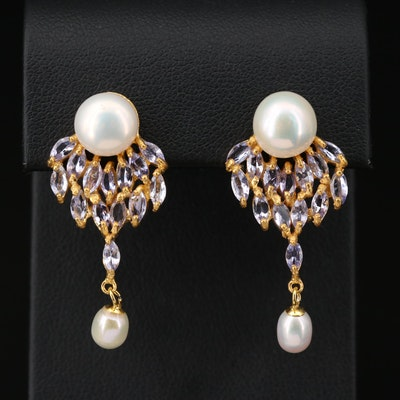 Sterling Pearl and Tanzanite Earrings