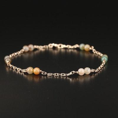 14K Moss Agate Bead Bracelet