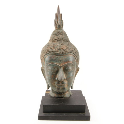 Thai Metal Buddha Head with Stand
