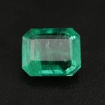 Loose 3.39 CT Step Cut Emerald with GIA Report
