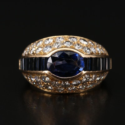 18K Sapphire and 1.72 CTW Diamond Ring with 1.83 CT Center Stone