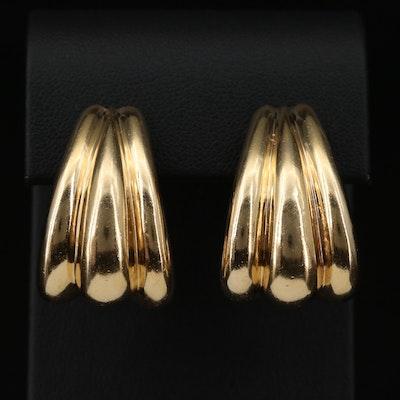 14K Fluted J-Hoop Earrings