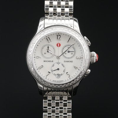 Michele Diamond and Stainless Steel Chrono Wristwatch with Date