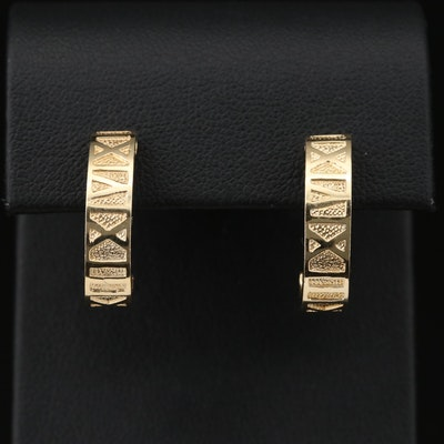 14K Roman Numeral J-Hoop Earrings