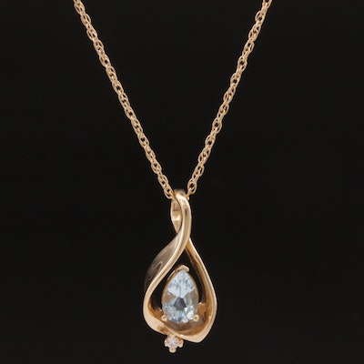 14K Blue Topaz and Diamond Necklace