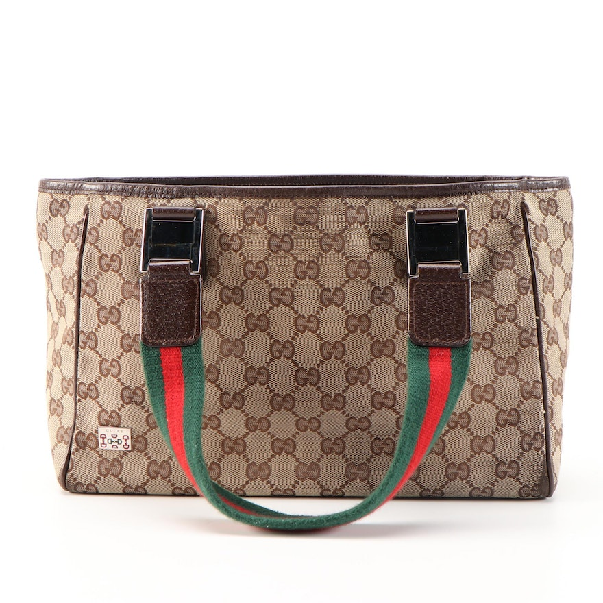 Refurbished Gucci GG Canvas and Web Shoulder Tote with Brown Leather Trim