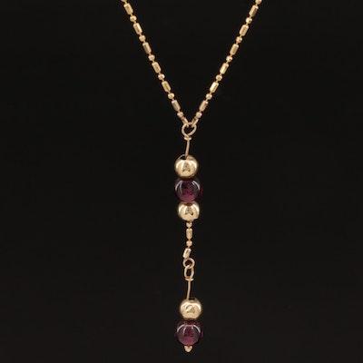 14K Garnet Drop Necklace