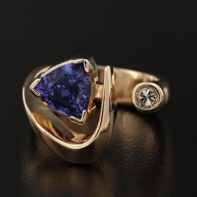 Modernist 14K Tanzanite and Diamond Open Shank Ring
