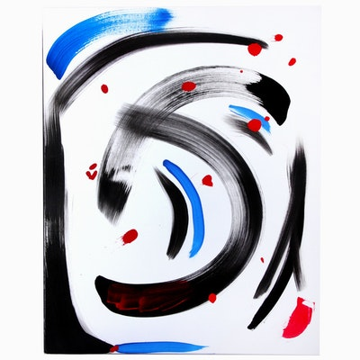 "Neville Shenton Abstract Acrylic Painting ""Tea with Miro"""