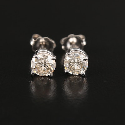 14K Gold 0.97 CTW Diamond Solitaire Stud Earrings