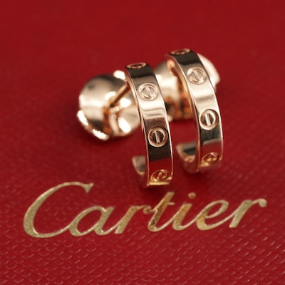 "Cartier ""Love"" 18K Hoop Earrings with Boxes and Certificate"