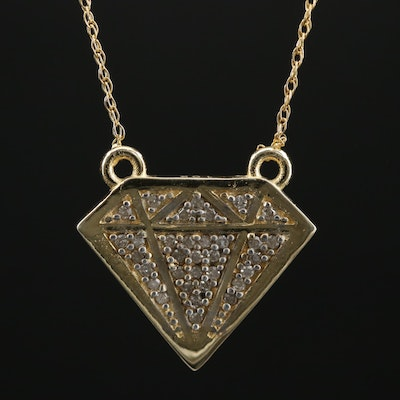Sterling Necklace with Diamond Filled Diamond Shaped Pendant