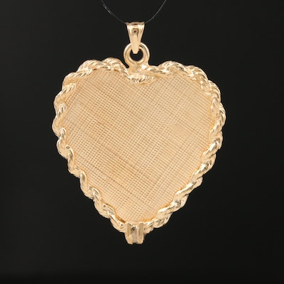 Vintage 14K Heart Pendant Featuring Florentine Finish and Rope Patterned Edges