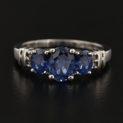 10K Blue Sapphire and Diamond Ring