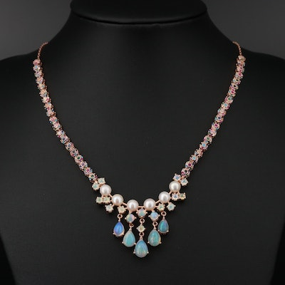 Sterling Silver Necklace with Opal, Pearl and Rubies