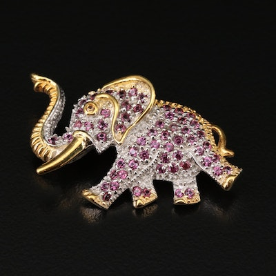 Sterling Silver Rhodolite Garnet and Sapphire Elephant Brooch