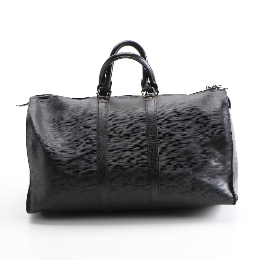 Louis Vuitton Keepall 45 Travel Bag in Black Epi and Smooth Leather