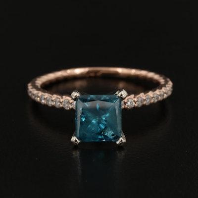 14K Diamond Ring Featuring 1.50 CT Blue Diamond Center