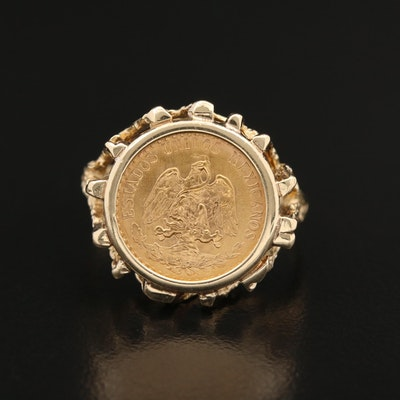 14K Ring with 1945 Mexico 2-Pesos Gold Coin