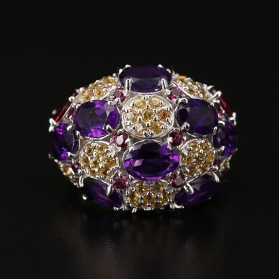 Sterling Silver Amethyst, Sapphire and Rhodolite Garnet Dome Ring