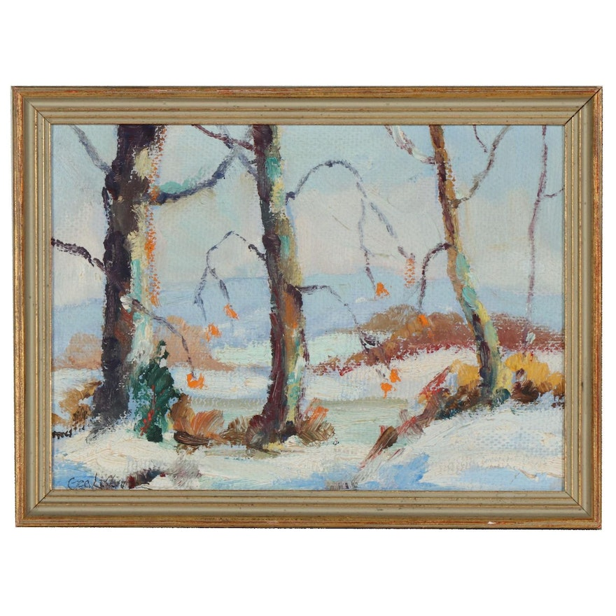 George LaChance Winter Landscape Oil Painting