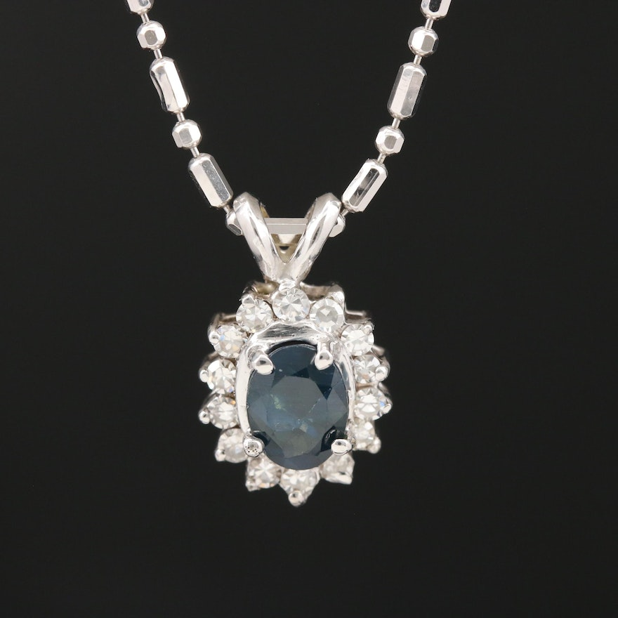 14K Sapphire and Diamond Necklace with Bar and Bead Link Chain