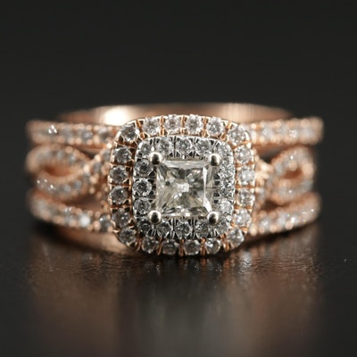 14K Rose Gold Diamond Ring Set