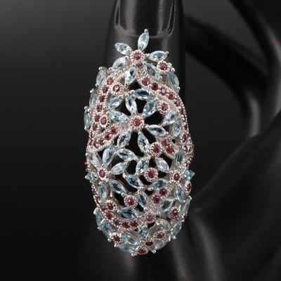 Sterling Silver Aquamarine and Rhodolite Garnet Floral Pointer Ring