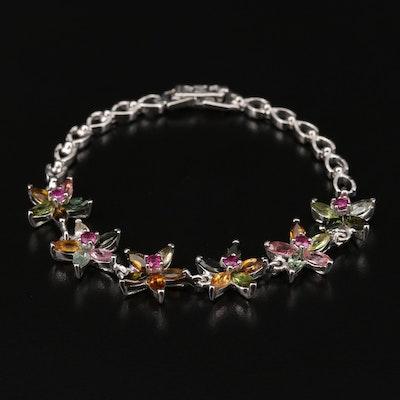 Sterling Silver Tourmaline and Rhodolite Garnet Floral Link Bracelet