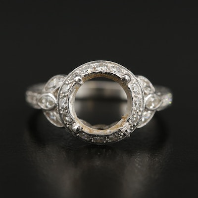 Platinum 1.08 CTW Diamond Semi-Mount Ring