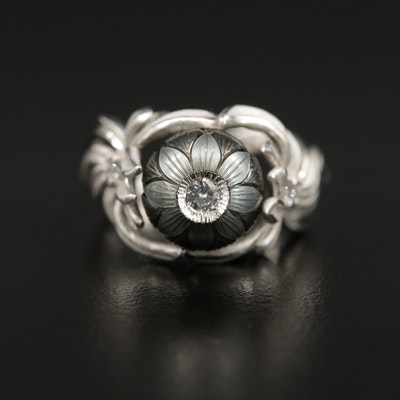 Galatea 14K Carved Pearl and Diamond Foliate Ring