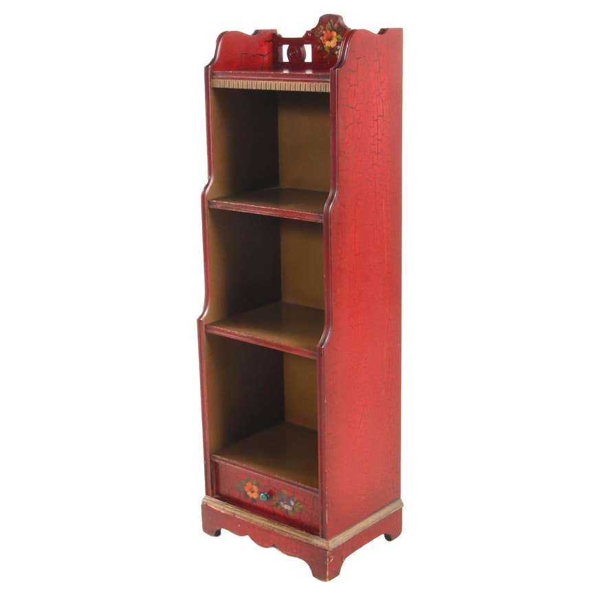Narrow Bookshelf in Red Crackle Paint