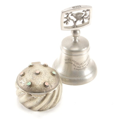 "English ""Partridge in a Pear Tree"" Pewter Bell with Stone Inlay Box"