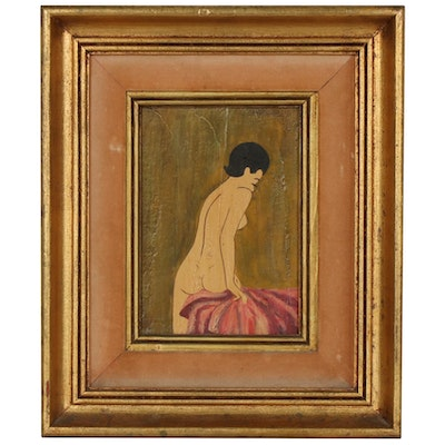 Female Nude Figural Oil Painting, Mid-20th Century