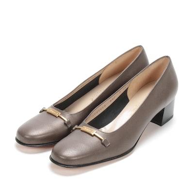 Salvatore Ferragamo Boutique Taupe Brown Saffiano Leather Low Heel Pumps