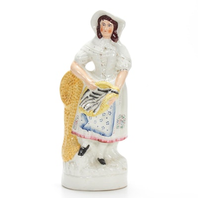 Staffordshire Lady with Fish Basket Figurine, 19th Century