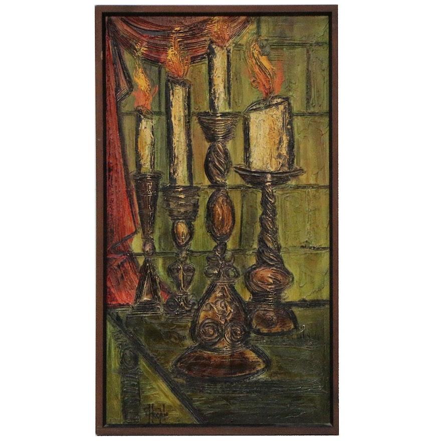 Van Hoople Impasto Still Life Oil Painting, Mid 20th Century