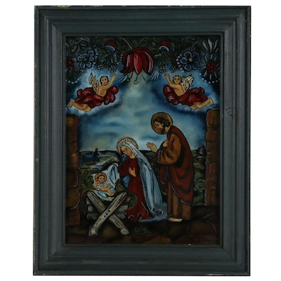 Anne Stowinska Reverse Glass Folk Art Painting of Nativity