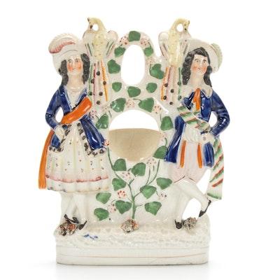 Staffordshire Porcelain Watch Holder, 19th Century