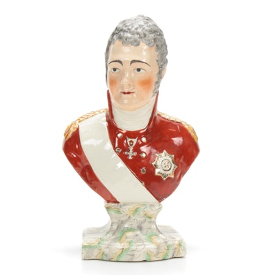 Staffordshire Porcelain Bust of Tsar Alexander I, 19th Century