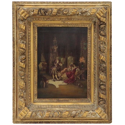 Antonio Gisbert Genre Scene Oil Painting of Figures in Opulent Interior
