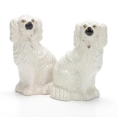 Pair of Staffordshire Porcelain Spaniel Figurines, Late 19th Century