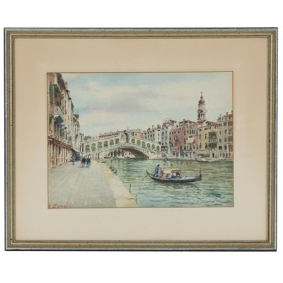 Vettore Zanetti-Zilla Watercolor Painting of Rialto Bridge in Venice