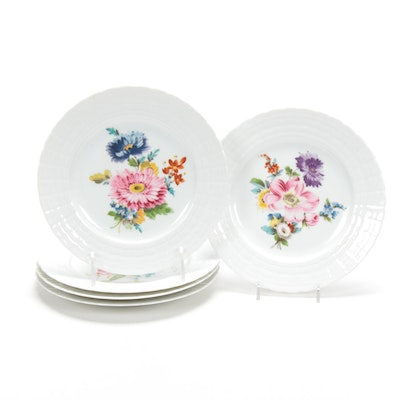 Set of Five Hutschenreuther Floral Motif Porcelain Salad Plates
