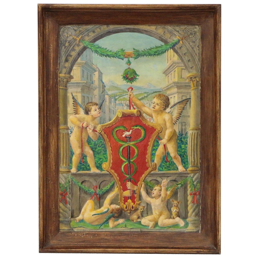 Oil Painting of Cherubs Holding Printer's Mark of Johann Frobens