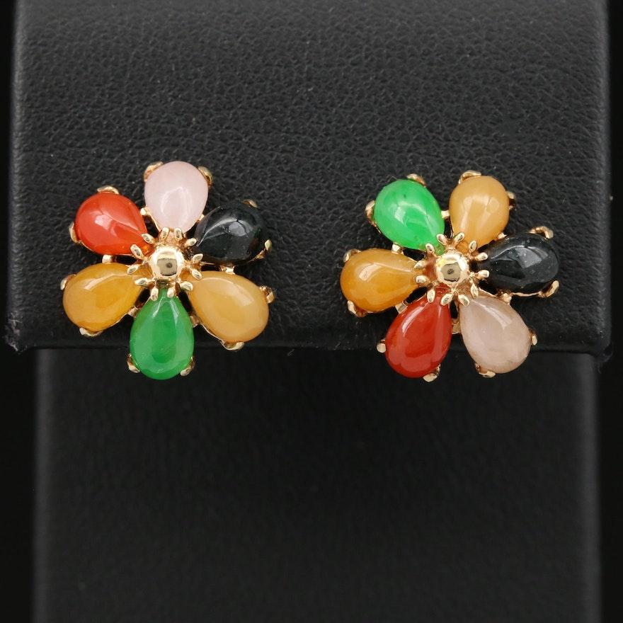 14K Jadeite and Black Onyx Earrings