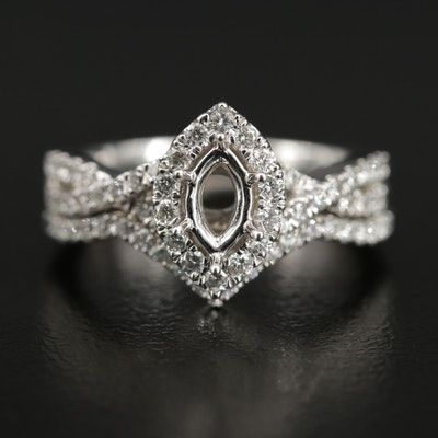 14K Diamond Semi-Mount Ring Set