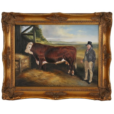 "Oil Painting after Lucas Beattie ""Hereford and Owner"""